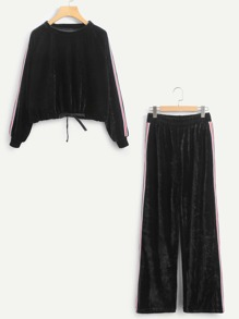 Stripe Tape Side Drawstring Hem Velvet Pullover With Pants