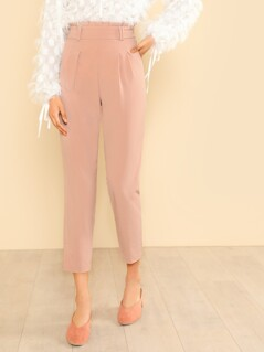 High Rise Pleated Front Trousers ROSE