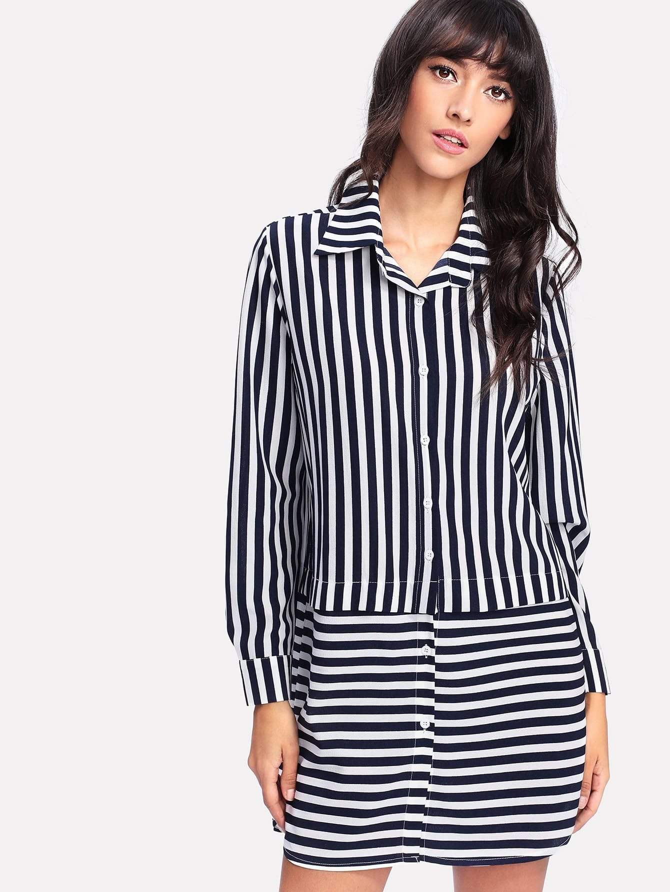 Contrast Striped Curved Hem Shirt Dress curved hem striped shirt dress