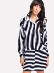 Contrast Striped Curved Hem Shirt Dress