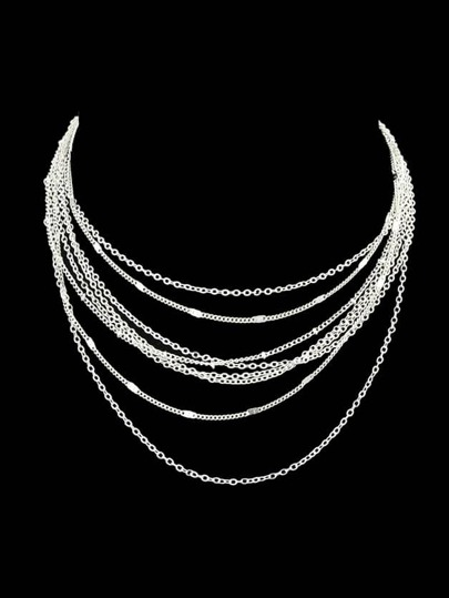 Silver Multi Layers Chain Necklace For Fashion Women Accessories