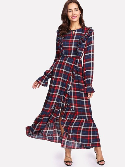 Ruffle Trim Plaid Print Asymmetrical Dress