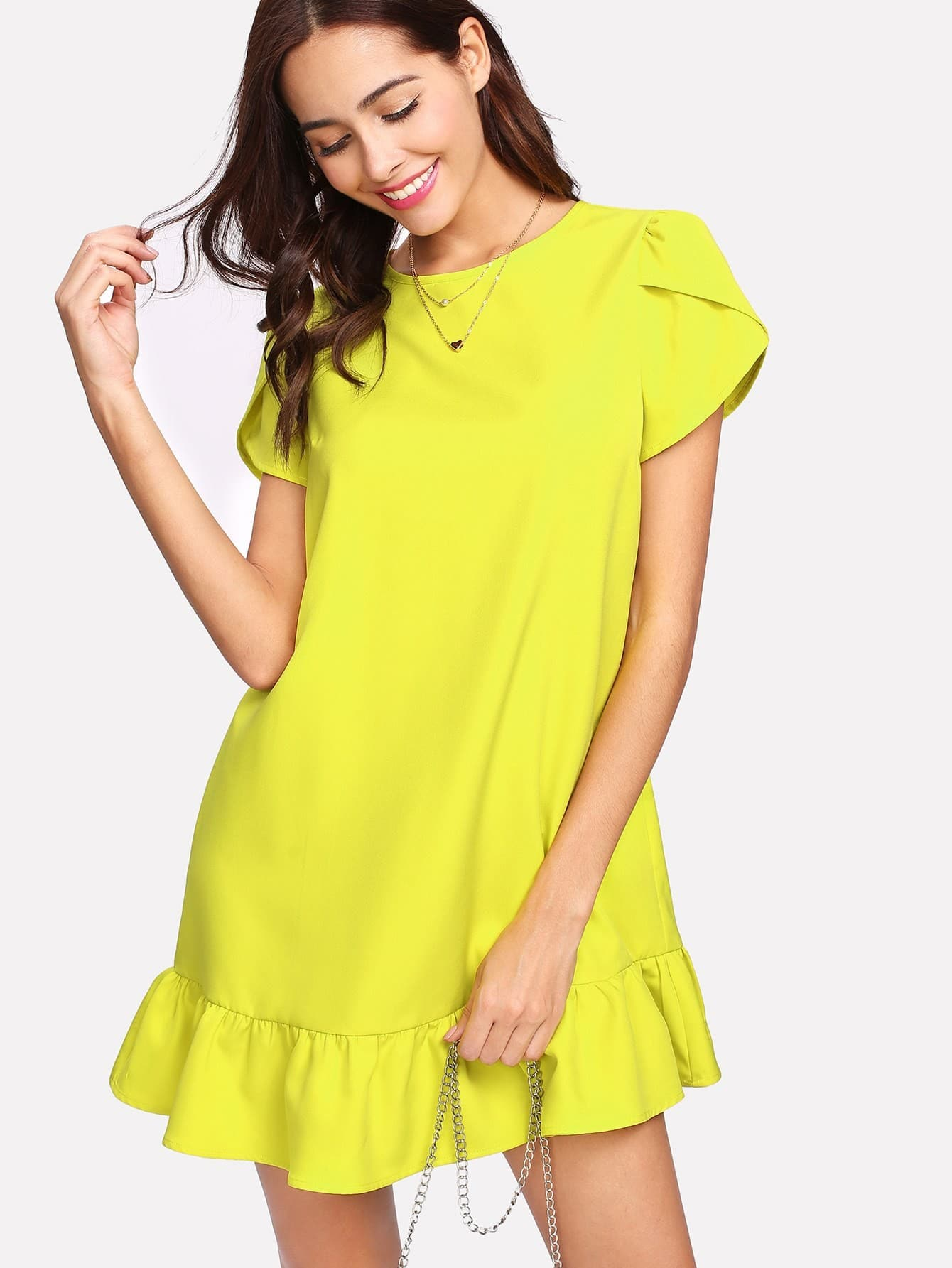 Petal Sleeve Ruffle Hem Dress petal sleeve wrap dip hem dress