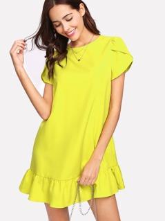Petal Sleeve Ruffle Hem Dress