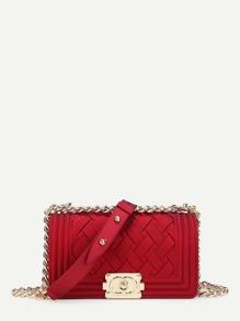 Woven Detail Flap Chain Bag