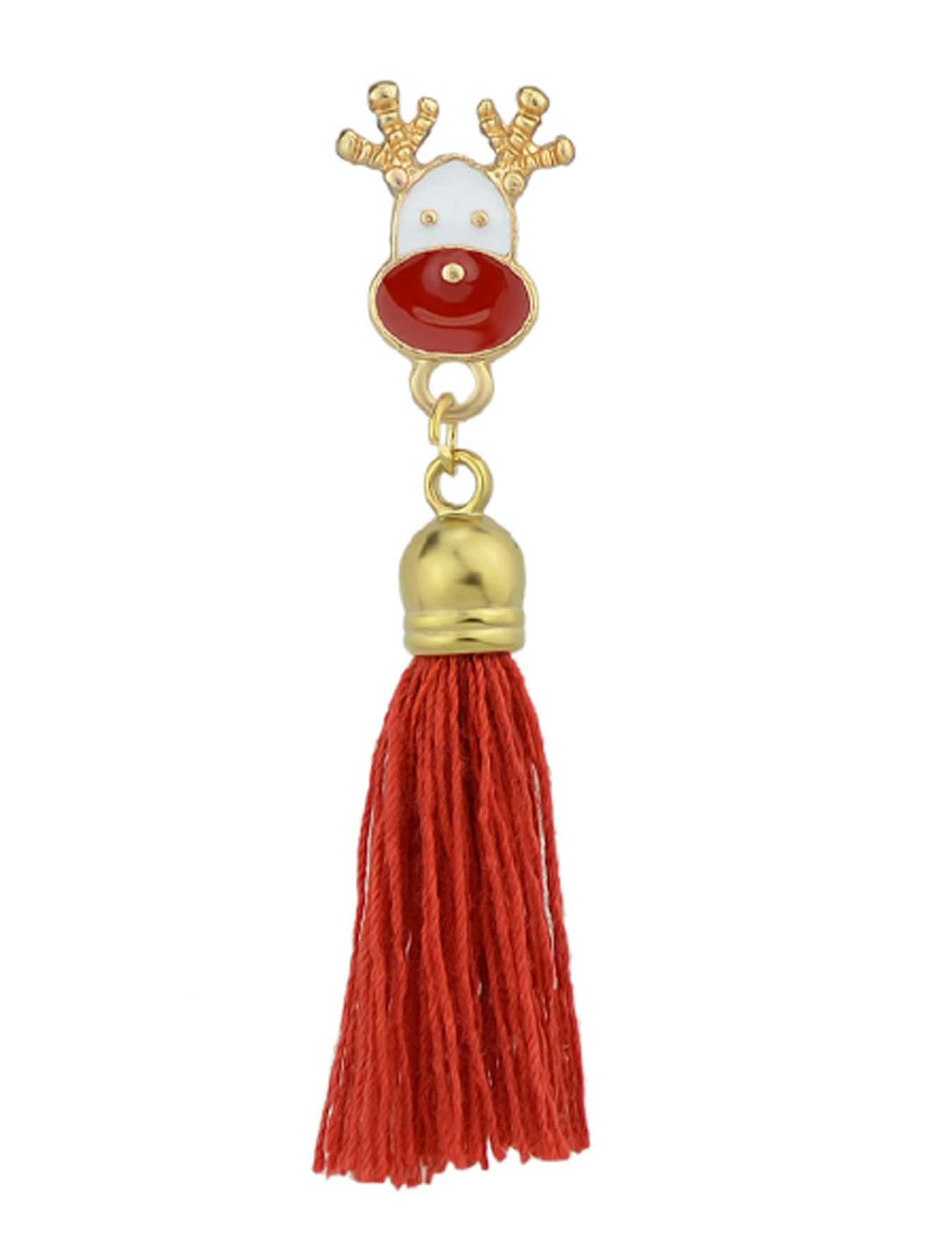 Deer-Red Christmas Jewelry White Red Enamel With Tassel Deer Gift Box Tree Santa Brooches