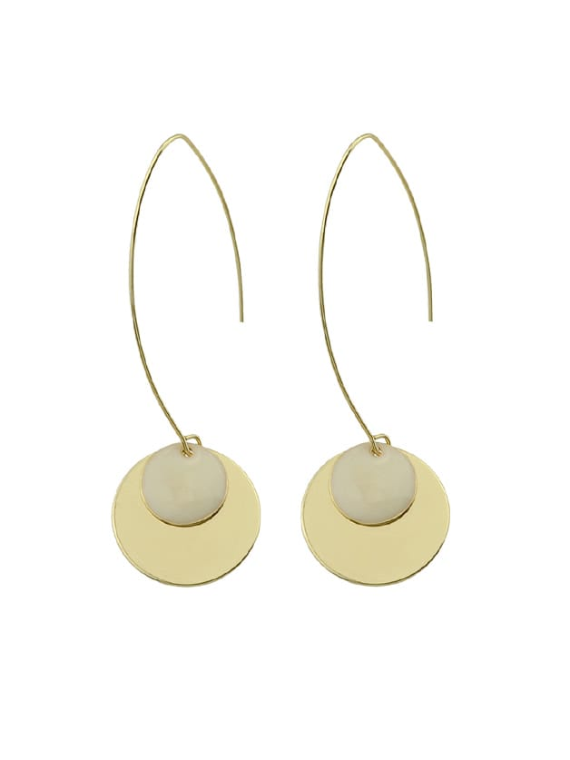 Image of Beige Round Party Female Earrings