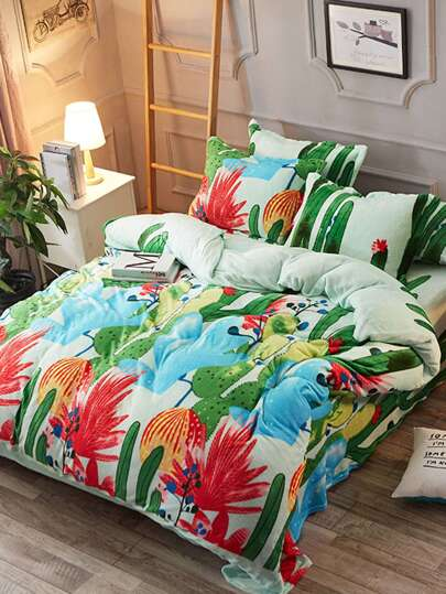 2.0m 4Pcs Cactus Fuzzy Duvet Cover & Sheet & Sham Set