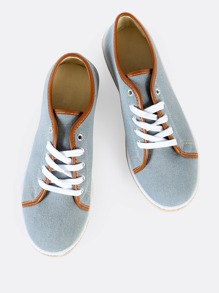 Two Tone Accent Sneakers LIGHT BLUE