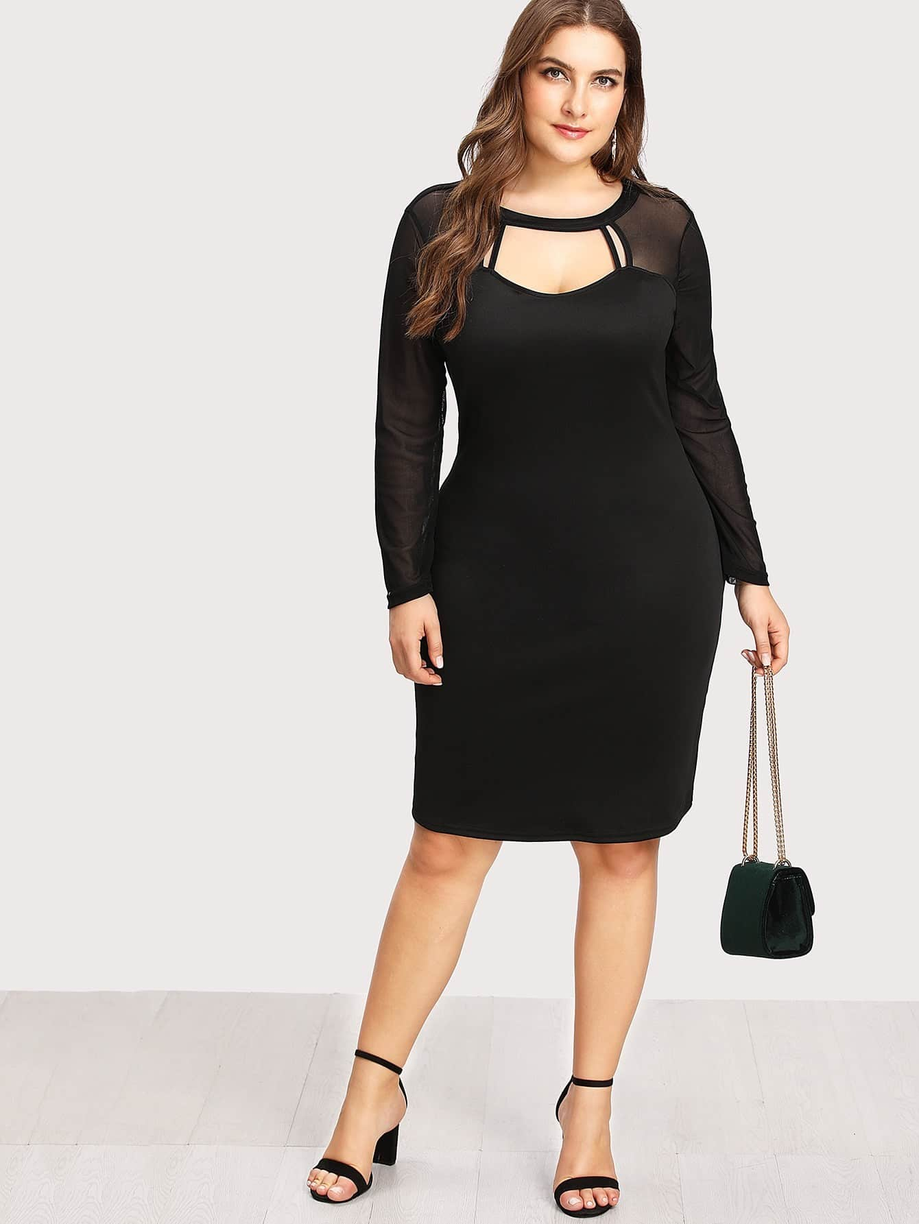 Cut Out Front Mesh Contrast Dress contrast collar foldover front dress