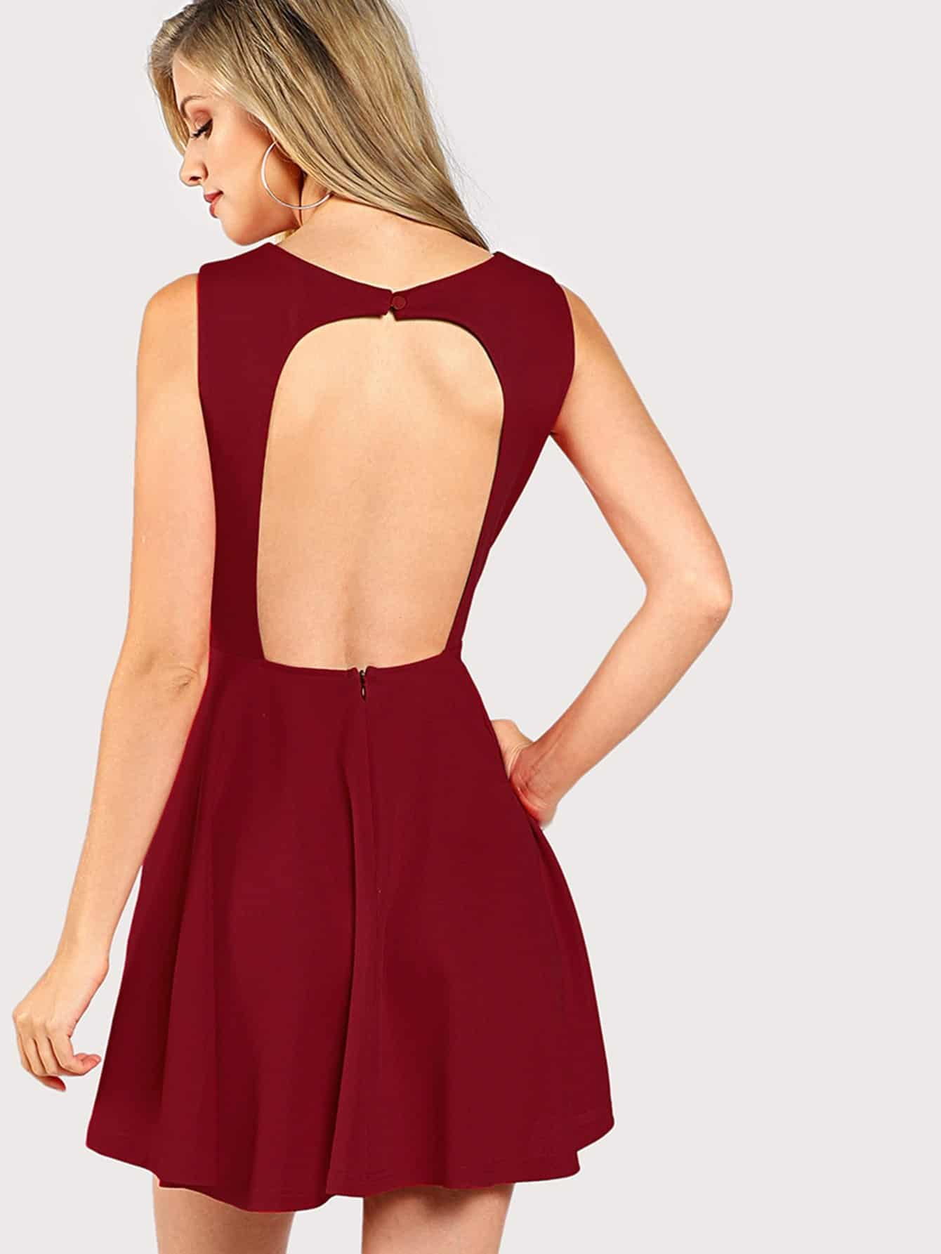Open Back Fitted & Flared Dress tassel insert back fitted dress