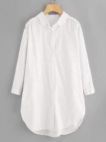 Dot Print Dolphin Hem Shirt Dress