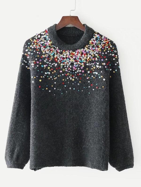 Sequin Embellished Raglan Sleeve Sweater anne klein new jade long sleeve sequin sweater s $79 dbfl