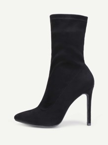 Pointed Toe Mid Calf Stiletto Boots