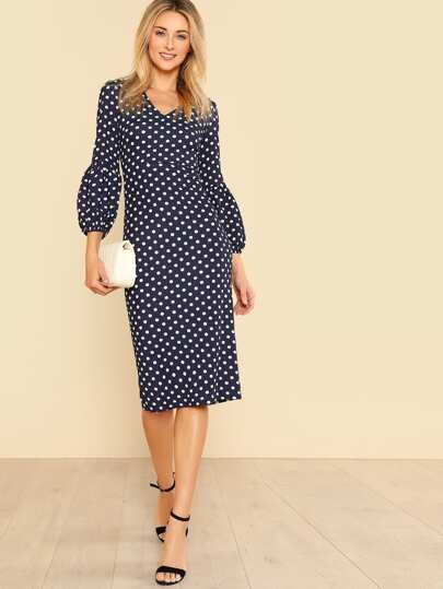 Bishop Sleeve Split Back Polka Dot Dress