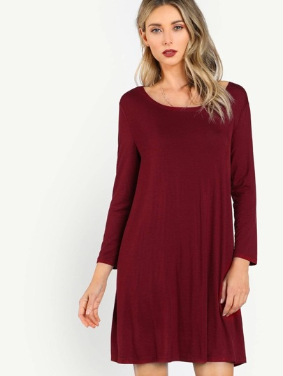 Long Sleeve Solid Tunic Dress