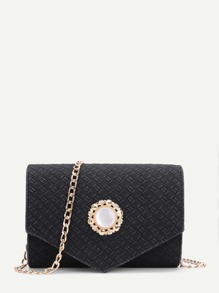 Woven Design Flap Chain Bag With Jewelry