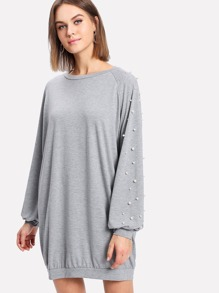 Pearl Beaded Raglan Marled Sweatshirt Dress