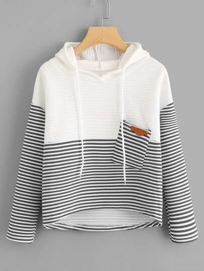 Color Block Striped Pocket Hoodie