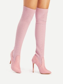 Pointed Toe Thigh High Stiletto Boots