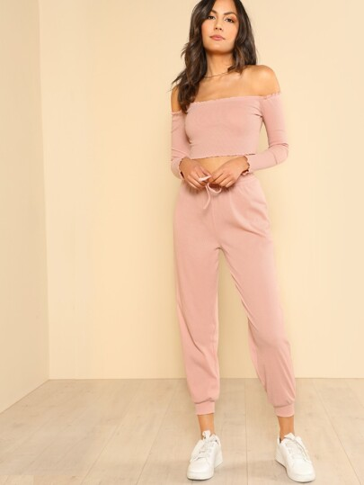 Crop Bardot Top & Pants Set