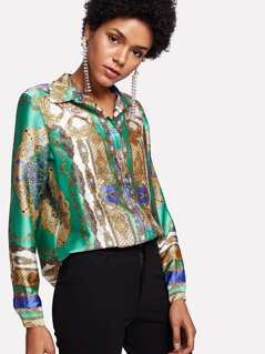 Ornate Print Button Up Shirt