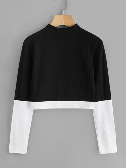 Stand Collar Color Block Tee