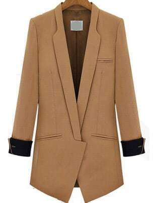 Lapel Fitted Camel Blazer contrast cuff fitted blazer