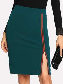 Striped Tape Side Pencil Skirt