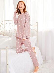 Stars Print Pullover & Pants Pj Set