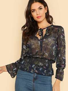 Floral Chiffon Printed Bell Sleeve Top NAVY