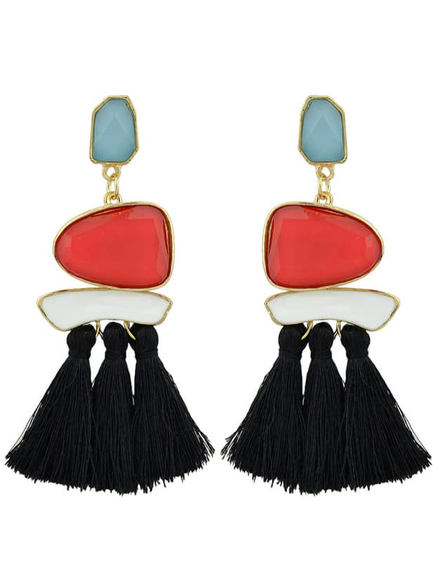 Red-Black Bohemian Style Ethnic Statement Big Tassel Drop Earrings ethnic hollow out statement drop earrings
