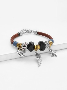 Feather & Starfish Charm Bangle Bracelet 1pc