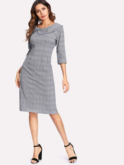 Asymmetrical Collar Slit Back Plaid Dress