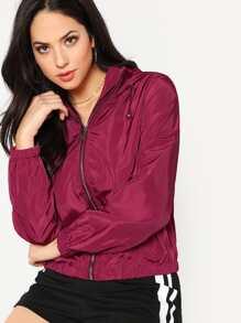 Solid Windbreaker Jacket With Hood