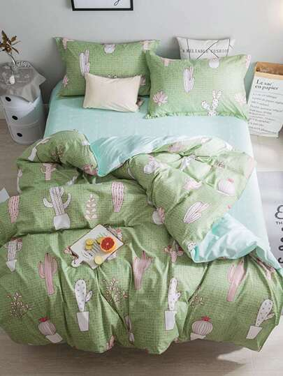 1.5m 4Pcs Cactus Print Bedding Set