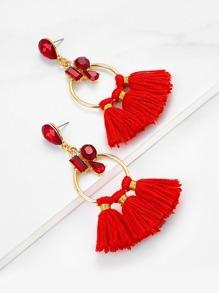 Tassel Hoop Drop Earrings With Rhinestone