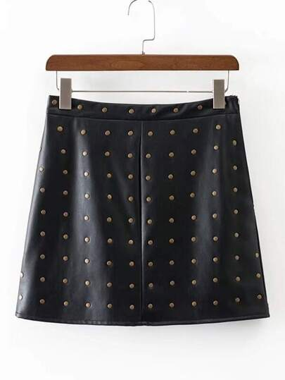 Studded Overlay PU Skirt