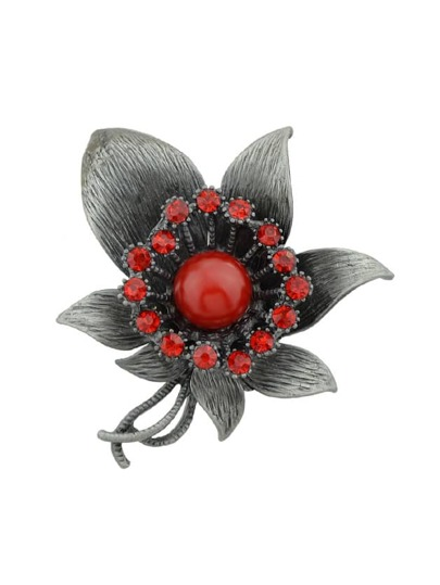 Red Vintage Style Rhinestone Flower Brooches