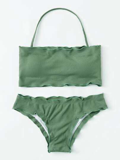 Ribbed Halter Bikini Set