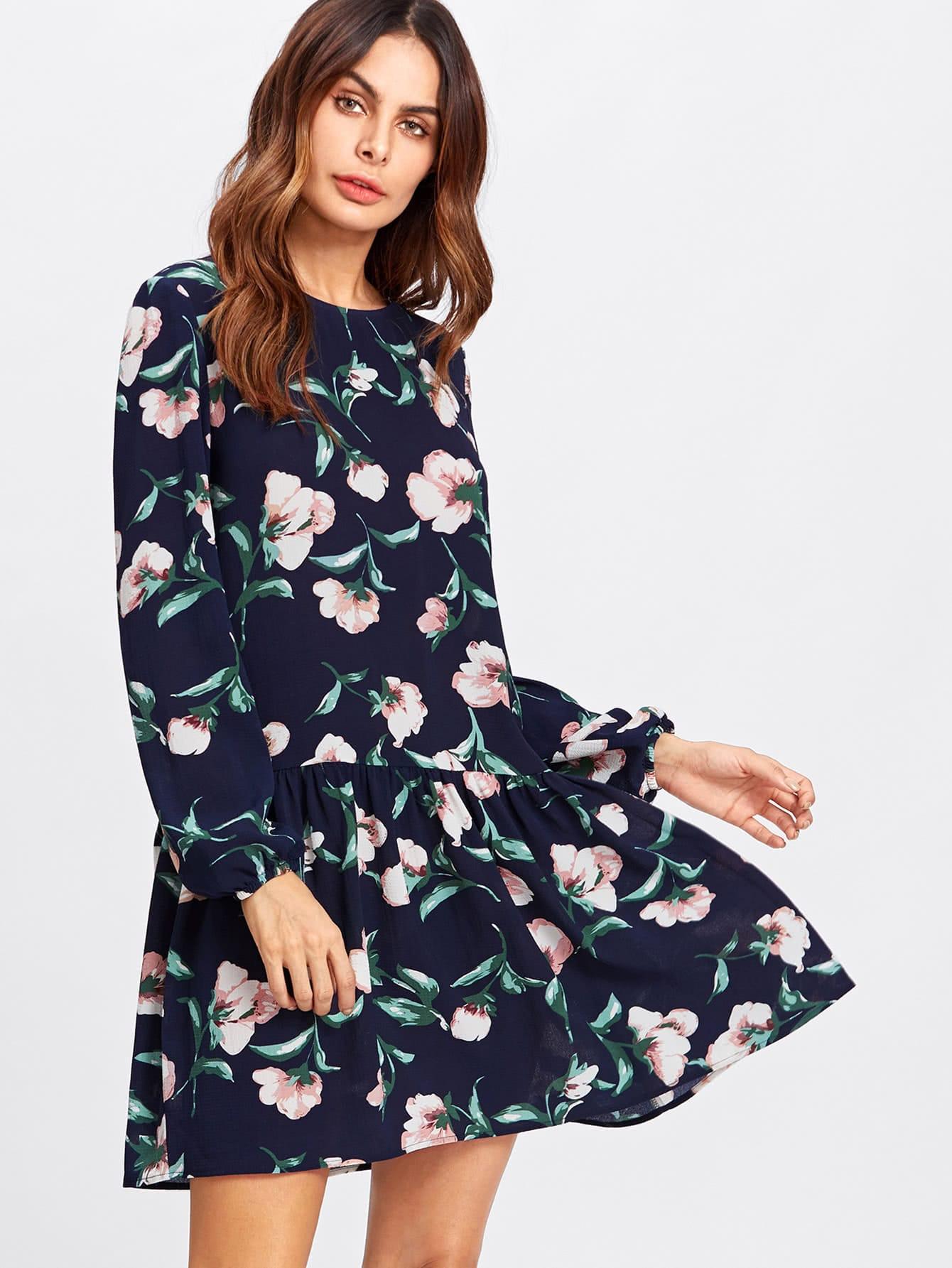Allover Flower Print Drop Waist Dress allover bear print dress