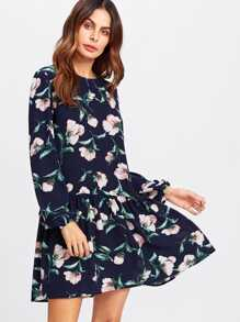 Allover Flower Print Drop Waist Dress