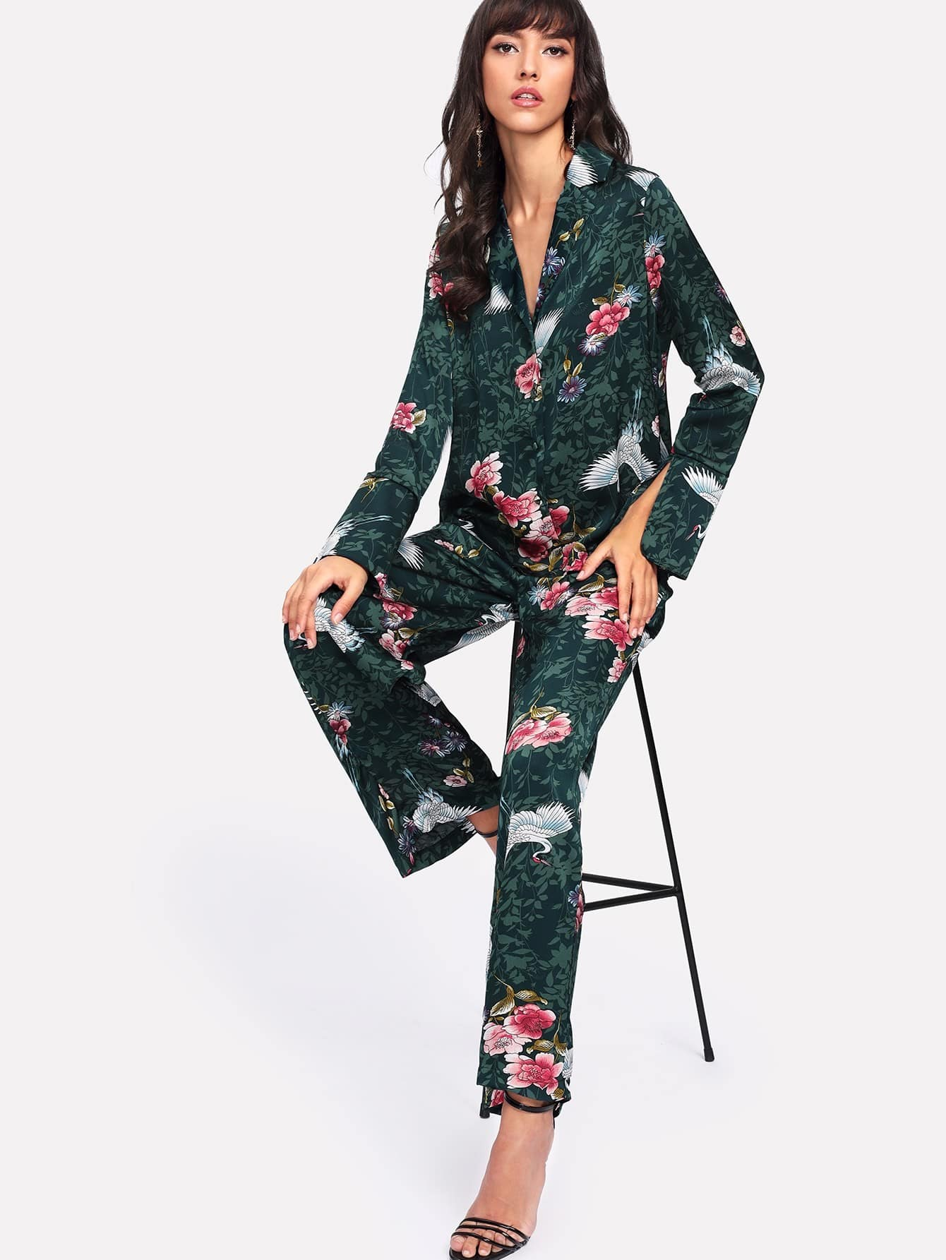 Crane And Flower Print Pants