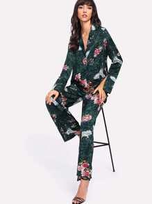 Crane And Flower Print Pants
