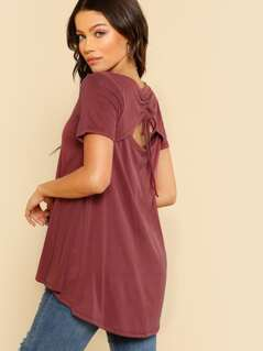 Back Cut Out Tie Up Top BURGUNDY