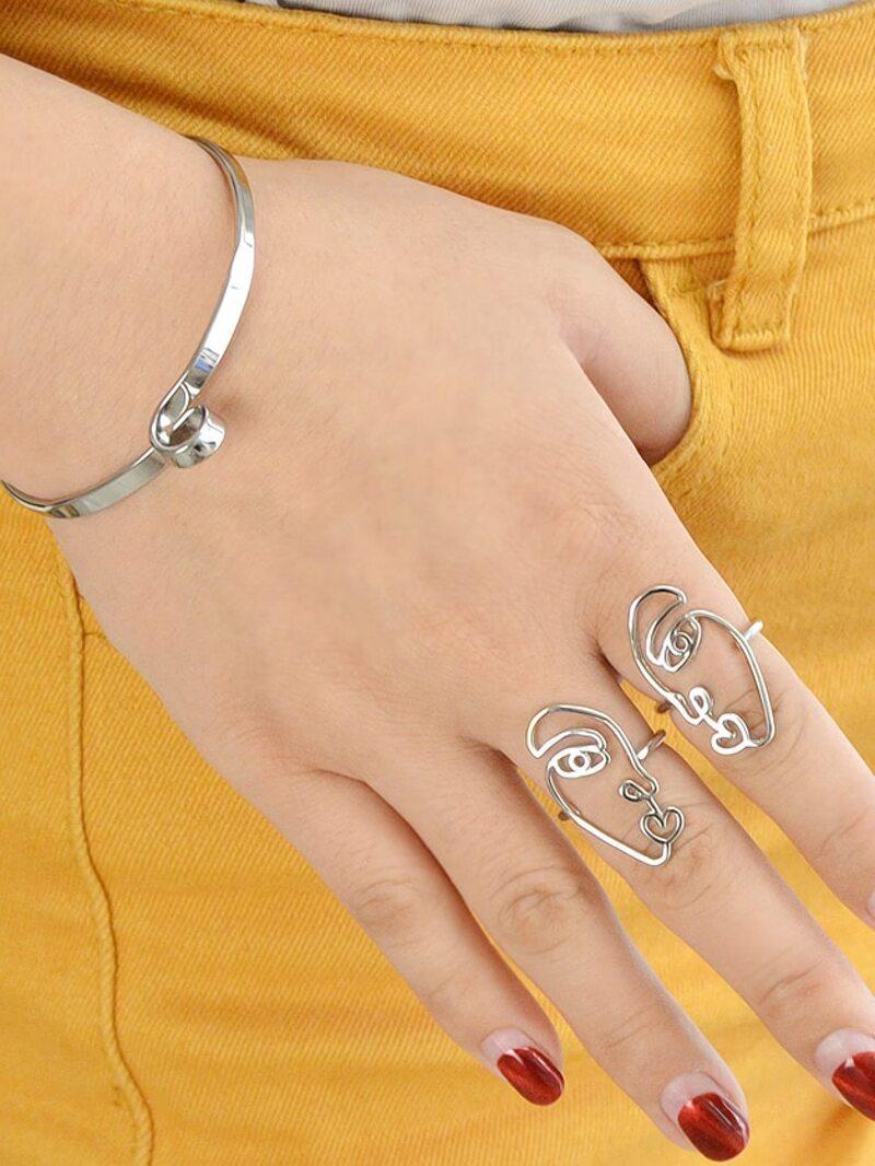 Silver Open Cuff Bracelets For Women Bijoux Jewelry