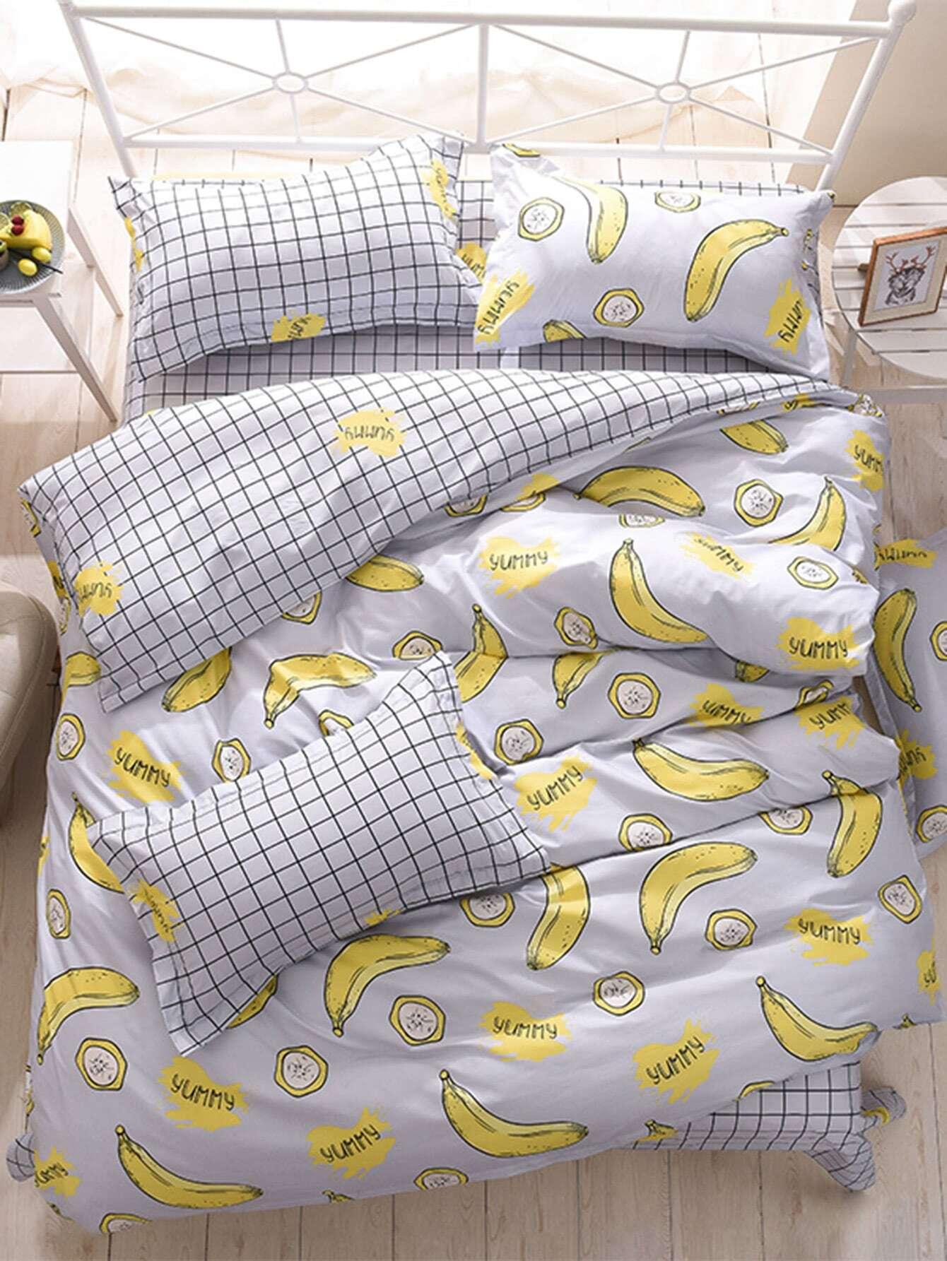 2.2m 4Pcs Banana Print Grid Bed Sheet Set