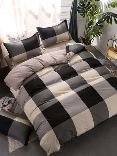 1.5m 4Pcs Colorblock Duvet Cover Set