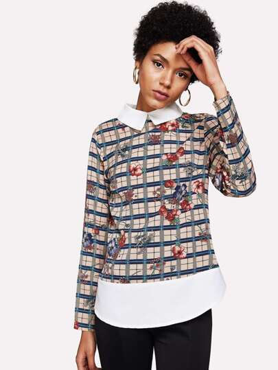 Contrast Collar And Hem Mixed Print Top