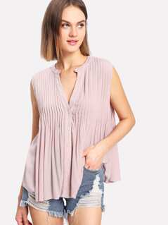 Button Up Pleated Sleeveless Top